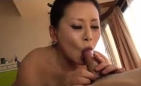 Hairy Asian Mom With Big Tits Sucks And Fucks A Young Cock