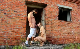 submissive-blonde-on-a-leash-gets-spanked-and-fisted-outside