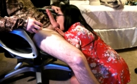 Sexy Asian Wife Buries A Toy Inside Her Ass And Blows A Cock