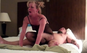 Striking Mature Blonde In Lingerie Takes A Dick For A Ride