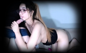 Nerdy Brunette Teen Exposes Her Big Hooters And Blows A Cock