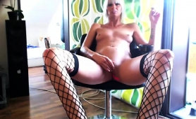 Provoking Milf In Stockings Blows A Dick And Rubs Her Cunt